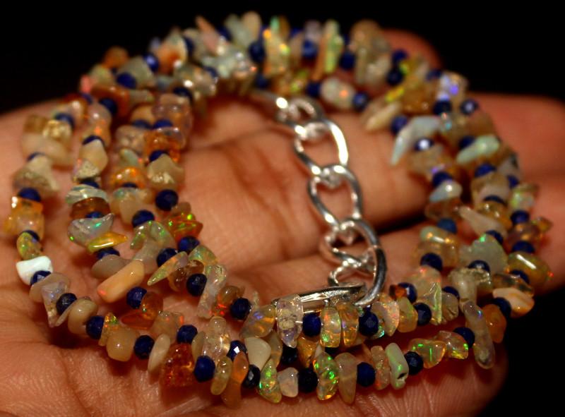 29 Crt Natural Ethiopian Welo Opal Uncut & Lapis Lazuli Necklace 32