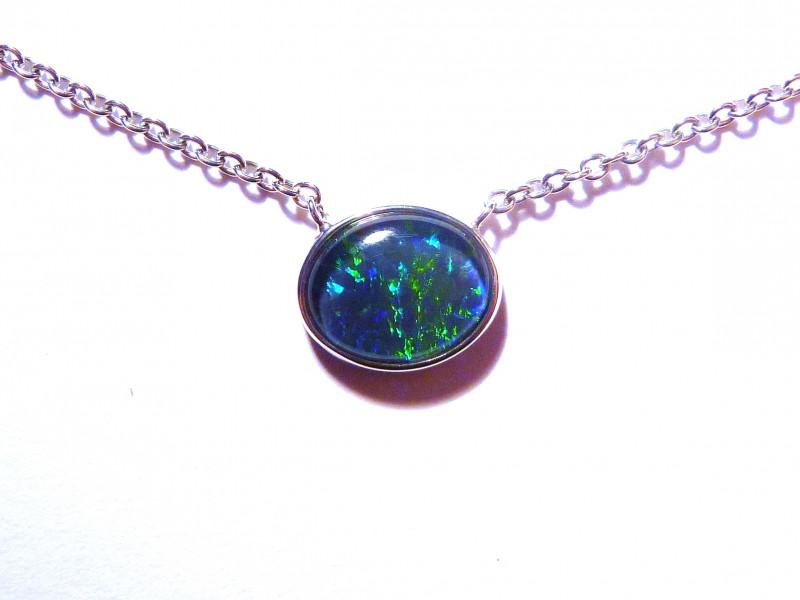Beautiful Australian Opal Gem Grade Triplet and Sterling Silver Pendant