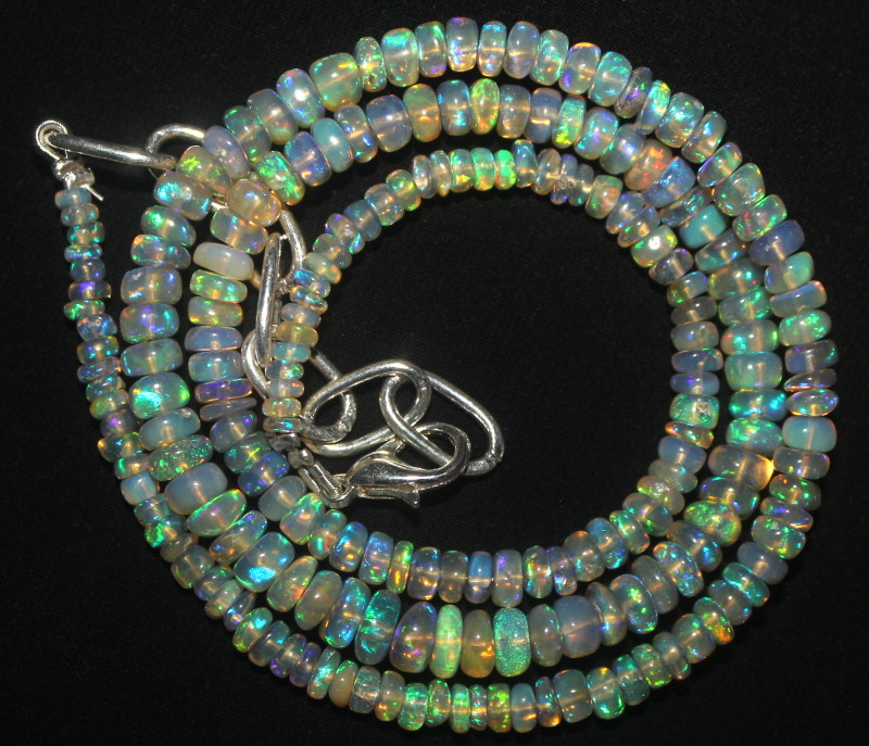 43 Crts Natural Ethiopian Welo Fire Opal Beads Necklace 1042