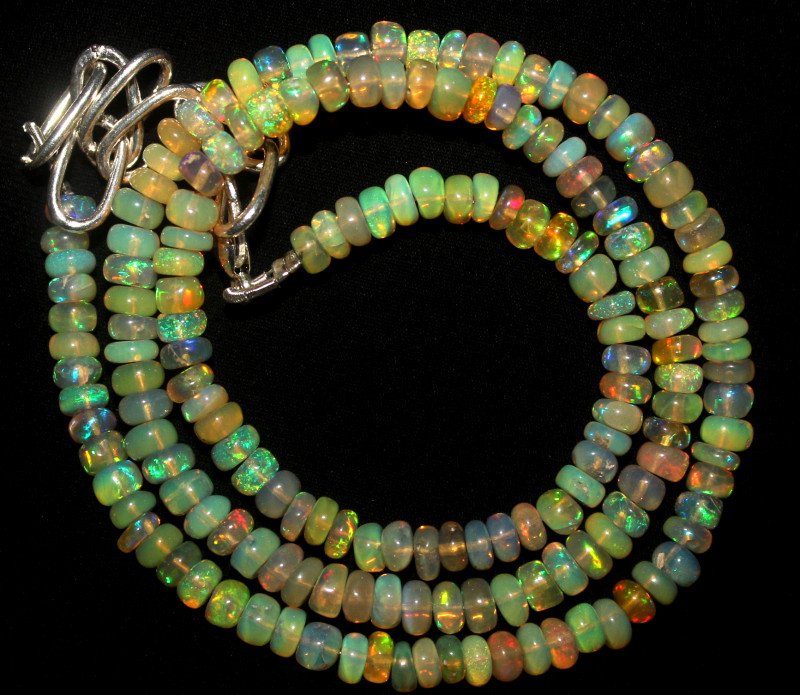 41 Crts Natural Ethiopian Welo Fire Opal Beads Necklace 1050
