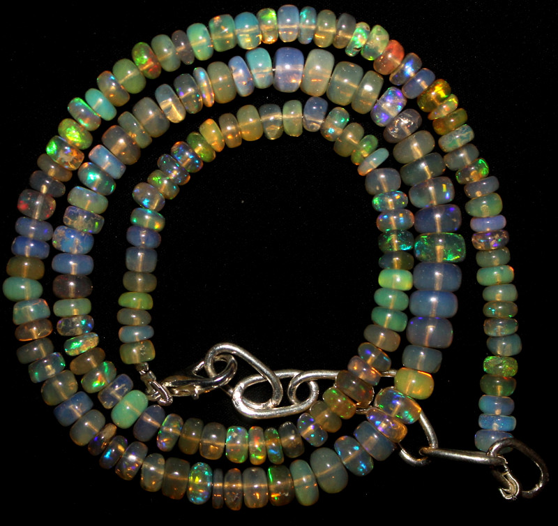 53 Crts Natural Ethiopian Welo Fire Opal Beads Necklace 1059
