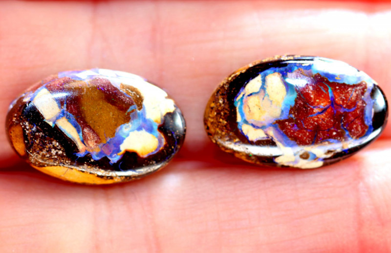 17.20CTS BOULDER OPAL PAIRS POLISHED  STONES KOP28
