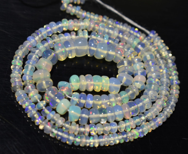 33.75 Ct Natural Ethiopian Welo Opal Beads Play Of Color