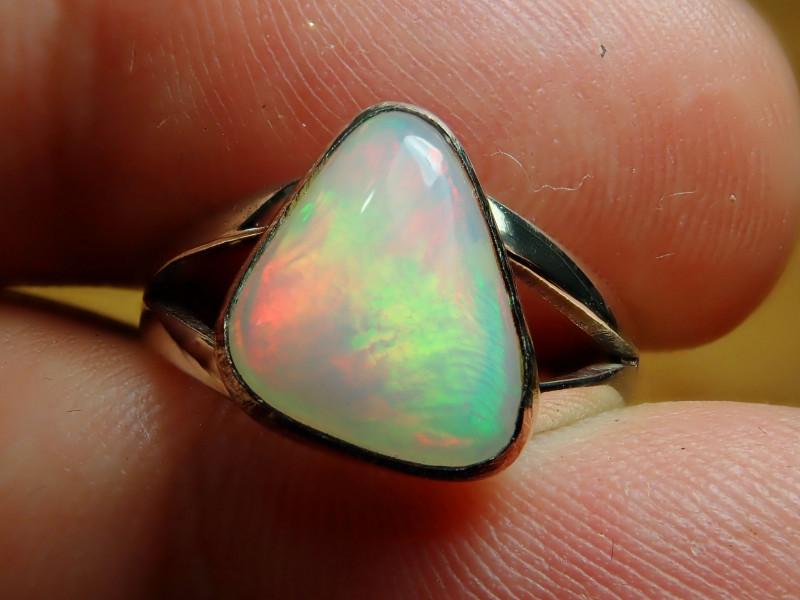 5sz. Blazing Welo Solid Opal Sterling Silver Ring