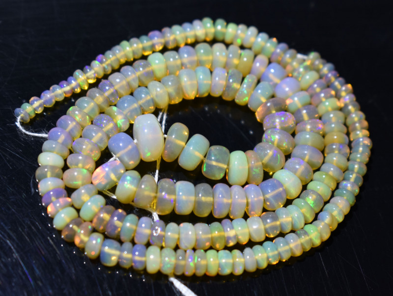 49.50 Ct Natural Ethiopian Welo Opal Beads Play Of Color