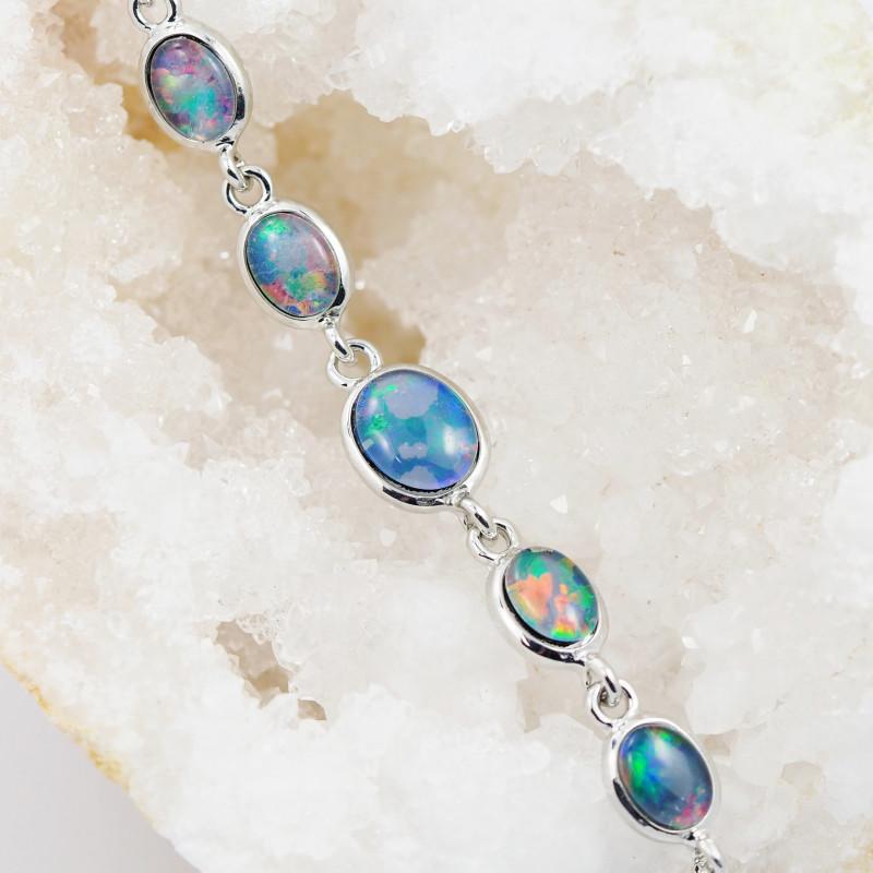 Modern Design 5pc  Oval Opal Triplet Bracelet  OPJ 2015