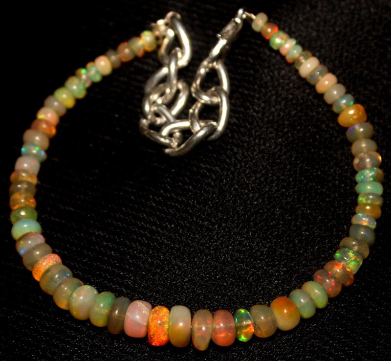 26 Crt Natural Ethiopian Welo Fire Opal Beads Bracelet 431