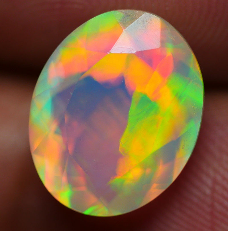 2.75 CRT BEAUTIFULL ROLLING FLASH FACETED PATTERN PLAY COLOR WELO OPAL-