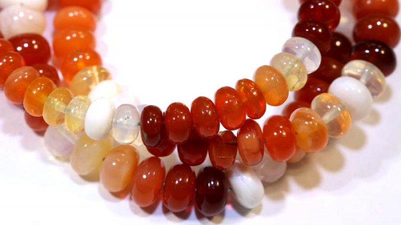 54.80 CTS MEXICAN FIRE OPAL STRANDS FOB-221