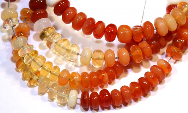 51.40 CTS MEXICAN FIRE OPAL STRANDS FOB-229