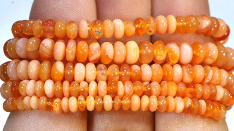 43 CTS MEXICAN FIRE OPAL STRANDS FOB-235