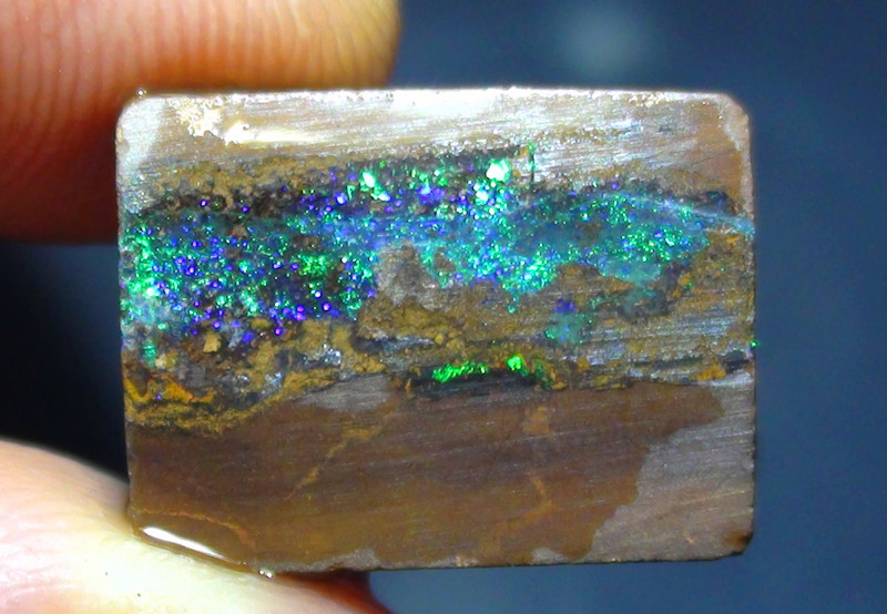 14.15 ct Gem Blue Green Pin fire Queensland Boulder Opal Rough Rub