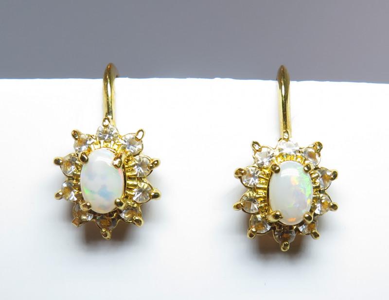 Australian Light Precious Opal GP Screw Back  Earrings