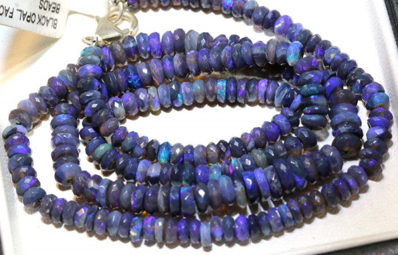 60 CTS BLACK OPAL FACETED BEADS STRAND TBO-9217