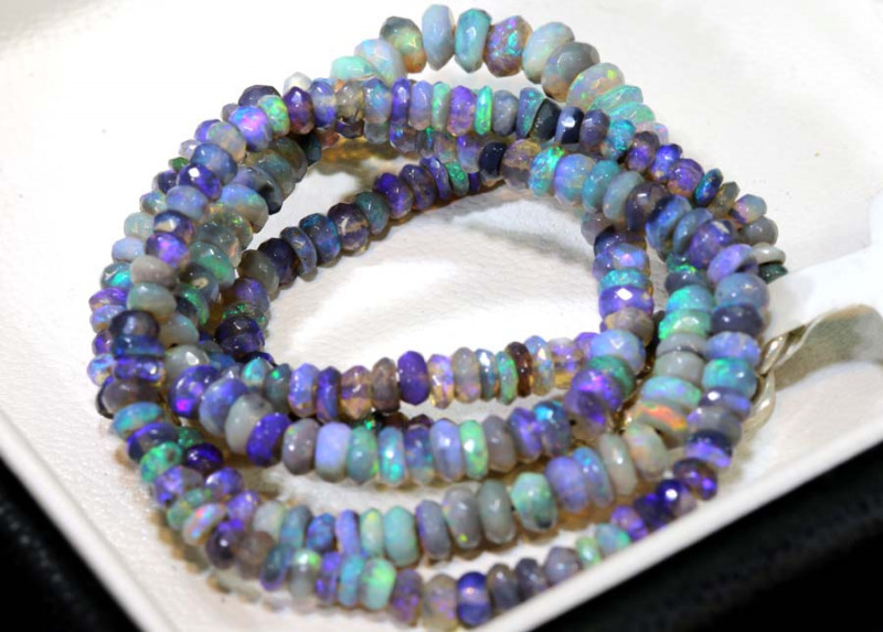 34.30 CTS L RIDGE DARK BASE OPAL FACETED BEADS STRAND TBO-9220