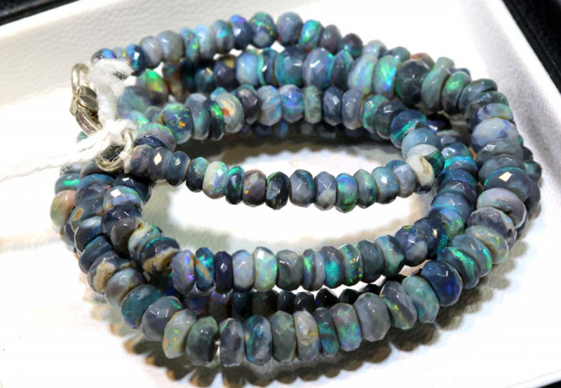 62 CTS BLACK OPAL FACETED BEADS STRAND TBO-9223