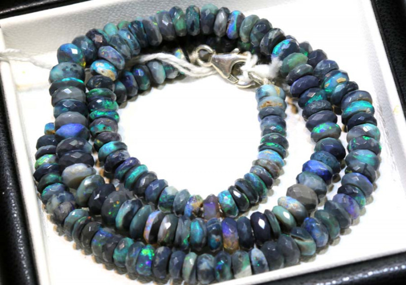 95 CTS BLACK OPAL FACETED BEADS STRAND TBO-9224