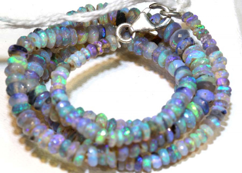 56 CTS L RIDGE DARK BASE OPAL FACETED BEADS STRAND TBO-9226