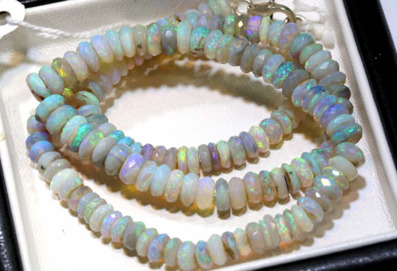 88 CTS L RIDGE DARK BASE OPAL FACETED BEADS STRAND TBO-9229