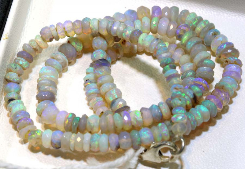 55 CTS L RIDGE DARK BASE OPAL FACETED BEADS STRAND TBO-9230