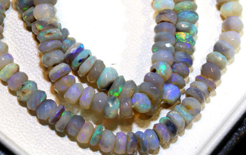 64 CTS L RIDGE DARK BASE OPAL FACETED BEADS STRAND TBO-9232
