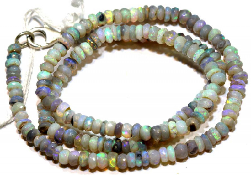 47 CTSL RIDGE DARK BASE OPAL FACETED BEADS STRAND TBO-9235