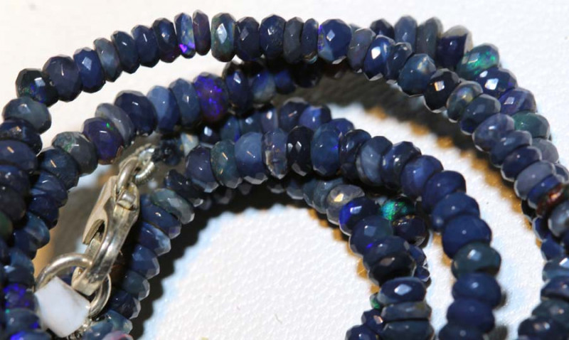 33.50 CTS L RIDGE BLACK OPAL FACETED BEADS STRAND TBO-9247