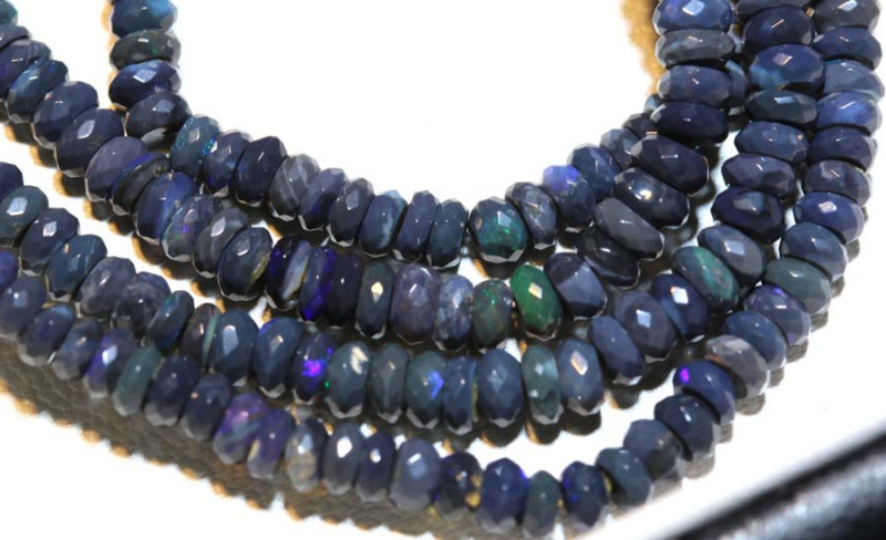 46.10 CTS L RIDGE BLACK OPAL FACETED BEADS STRAND TBO-9248