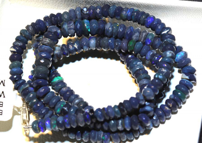 62.70 CTS L RIDGE BLACK OPAL FACETED BEADS STRAND TBO-9249