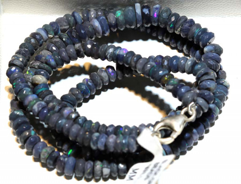 70 CTS L RIDGE BLACK OPAL FACETED BEADS STRAND TBO-9254