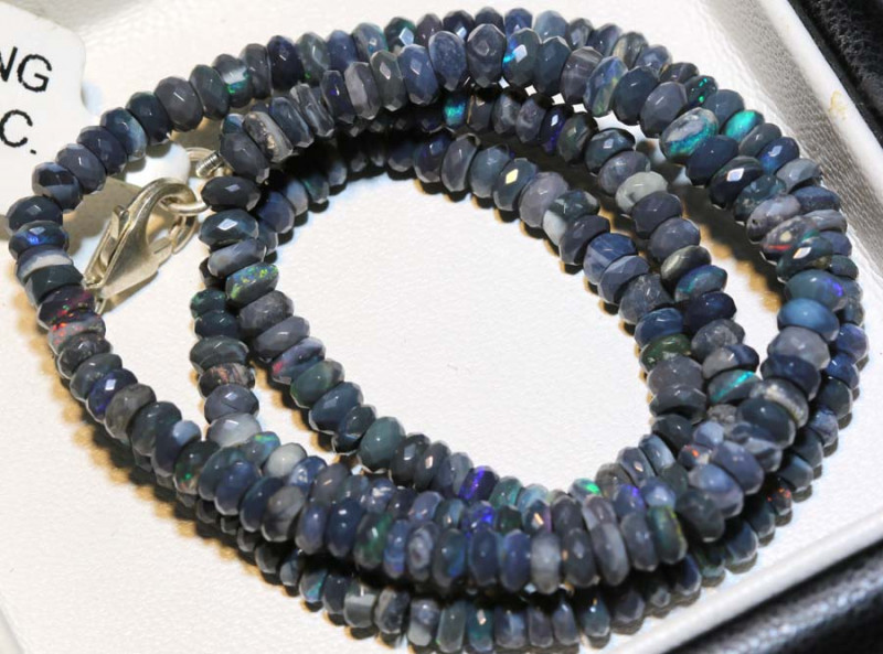 53.5 CTS  L RIDGE BLACK OPAL FACETED BEADS STRAND TBO-9255