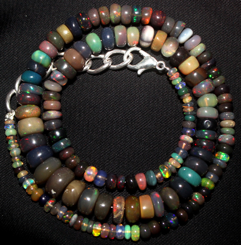 70 Crt Natural Ethiopian Welo Fire Smoked Opal Beads Necklace 129