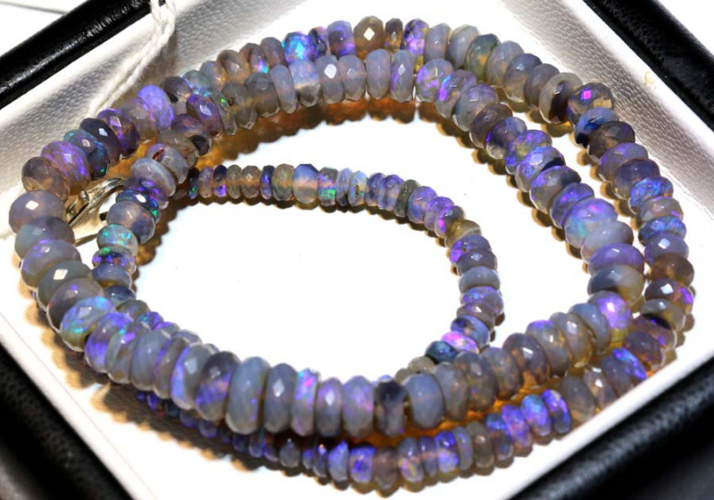 75.30 CTS  L RIDGE CRYSTAL OPAL FACETED BEADS STRAND TBO-9264