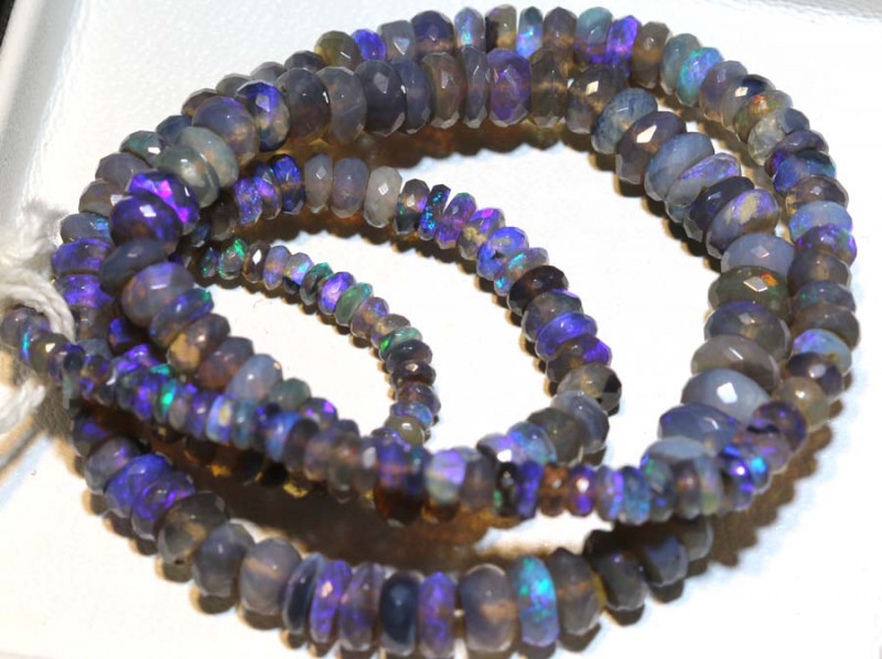 65.50 CTS  L RIDGE CRYSTAL OPAL FACETED BEADS STRAND TBO-9257
