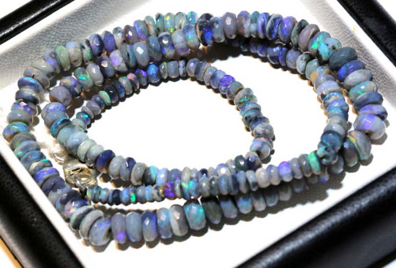 68.50 CTS  L RIDGE DARK BASE OPAL FACETED BEADS STRAND TBO-9261