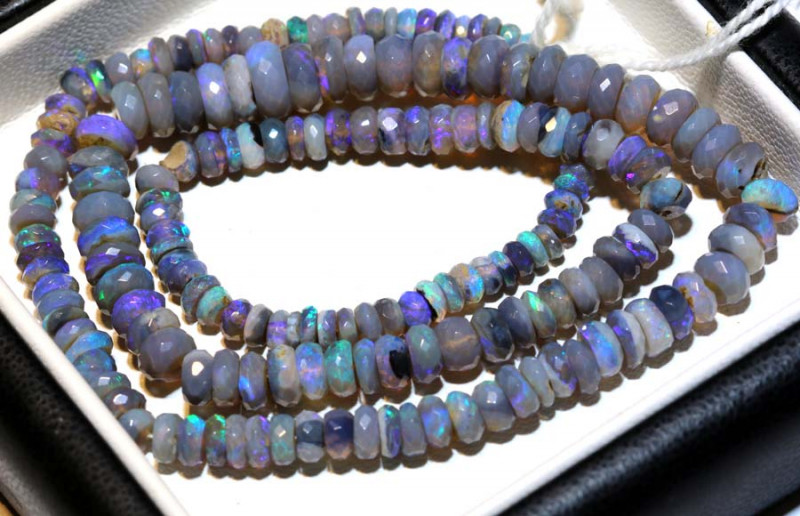 67.50 CTS  L RIDGE DARK BASE OPAL FACETED BEADS STRAND TBO-9258