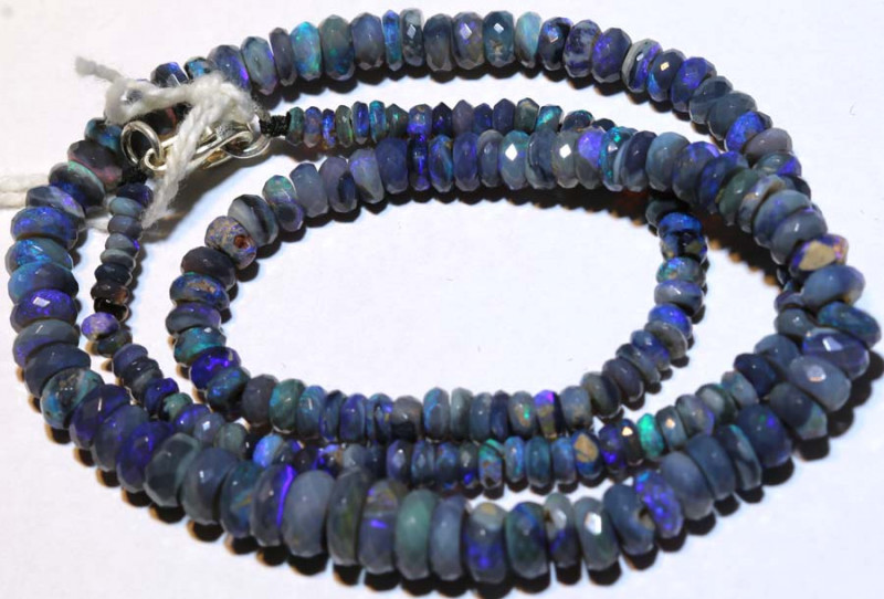 61 CTS  L RIDGE DARK BASE OPAL FACETED BEADS STRAND TBO-9262