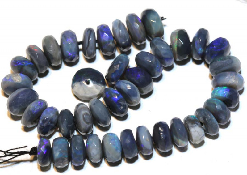 28.80 CTS  L RIDGE DARK BASE OPAL FACETED BEADS STRAND TBO-9268