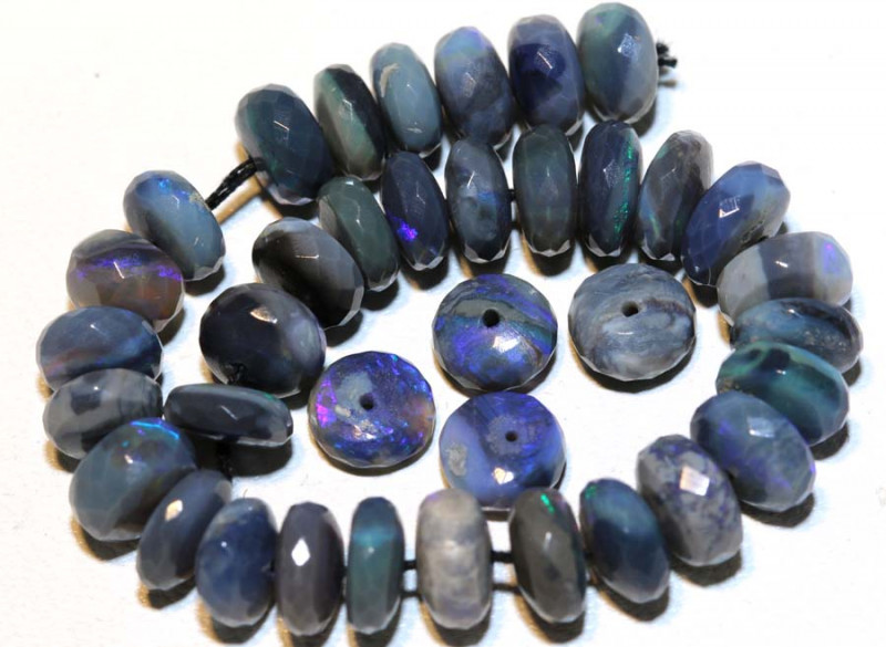 37.50 CTS  L RIDGE DARK BASE OPAL FACETED BEADS STRAND TBO-9269