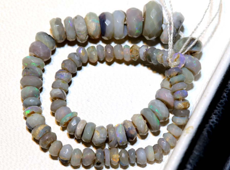 14.15 CTS  L RIDGE DARK BASE OPAL FACETED BEADS STRAND TBO-9270