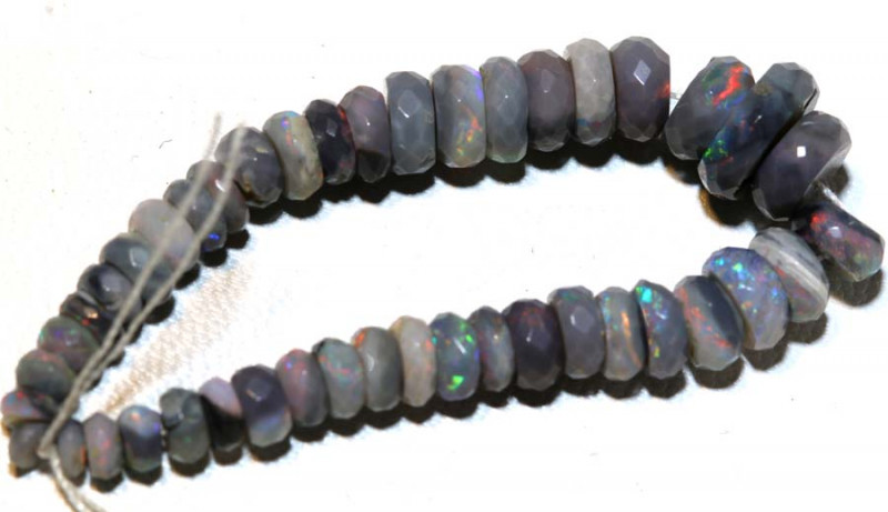 18.35 CTS  L RIDGE DARK BASE OPAL FACETED BEADS STRAND TBO-9271