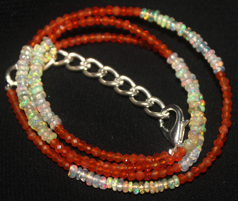 15 Crt Natural Ethiopian Welo Opal & Carnelian Beads Necklace 29