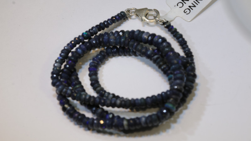 46 CTS  L RIDGE BLACK OPAL FACETED BEADS STRAND TBO-9278