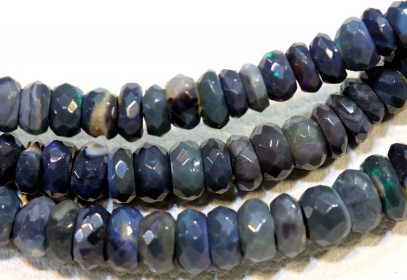 37 CTS  L RIDGE BLACK OPAL FACETED BEADS STRAND TBO-9279