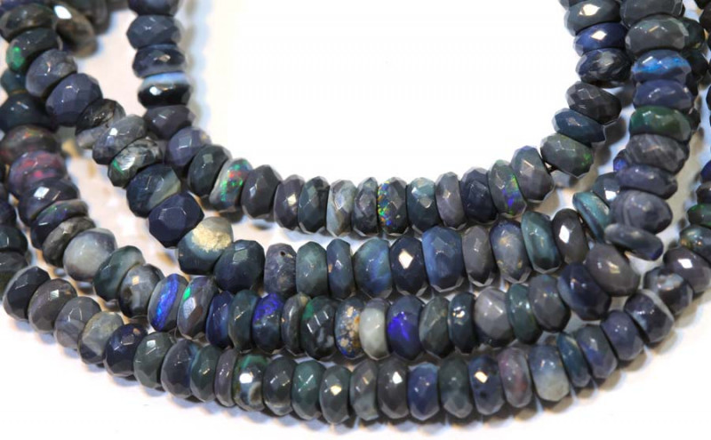 42.20 CTS  L RIDGE BLACK OPAL FACETED BEADS STRAND TBO-9280