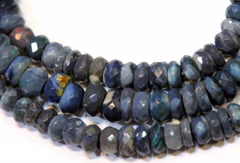 46 CTS  L RIDGE BLACK OPAL FACETED BEADS STRAND TBO-9281