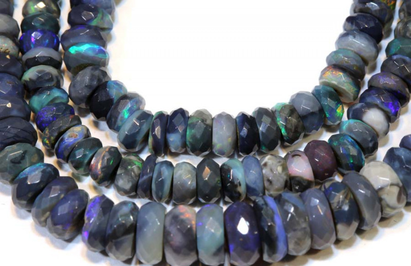 80 CTS  L RIDGE DARK BASE OPAL FACETED BEADS STRAND TBO-9282