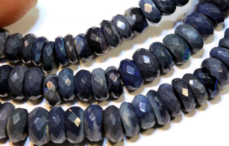 88.40 CTS  L RIDGE BLACK OPAL FACETED BEADS STRAND TBO-9285