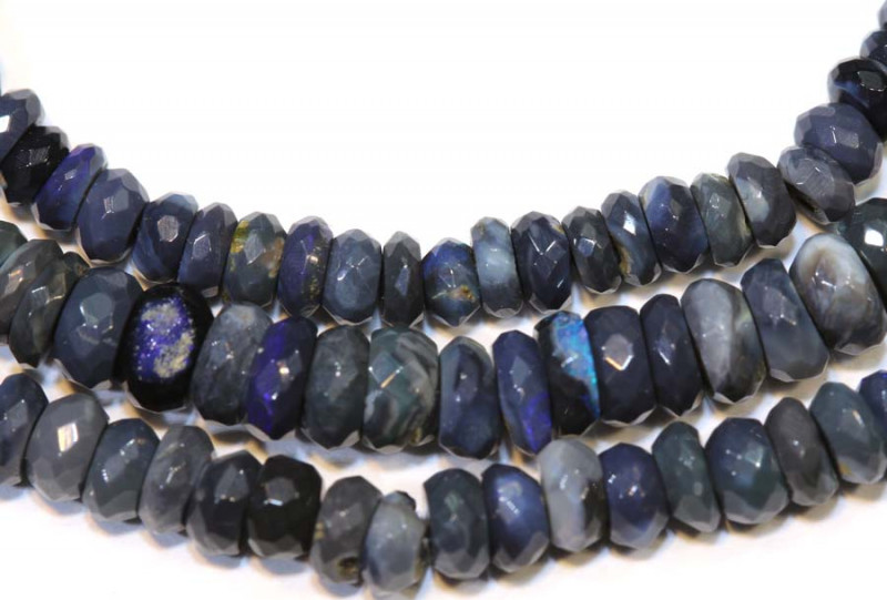 37 CTS  L RIDGE BLACK OPAL FACETED BEADS STRAND TBO-9286