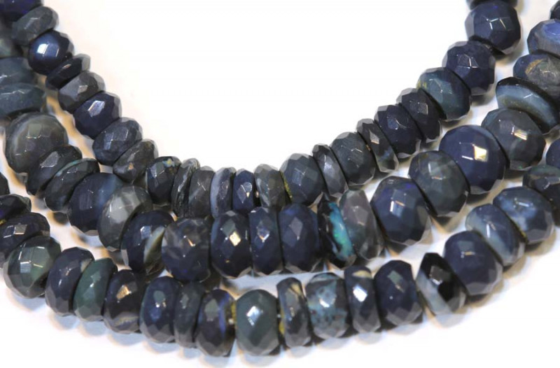 52 CTS  L RIDGE BLACK OPAL FACETED BEADS STRAND TBO-9288